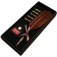 Kentaur Calligraphy Pen Set_Brown (CS-0205-1) Real Feather with High Quality Stainless Steal Nib