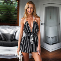 Sexy Women Halter V-Neck Backless Stripe High Waist Drawstring Short Jumpsuit