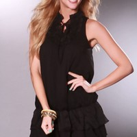 Black Sleeveless Ruffled Detail Mesh Sexy Mini Dress @ Amiclubwear sexy dresses,sexy dress,prom dress,summer dress,spring dress,prom gowns,teens dresses,sexy party wear,women's cocktail dresses,ball dresses,sun dresses,trendy dresses,sweater dresses,teen