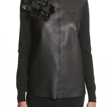 Ted Baker London Leather Front Sweater | Nordstrom