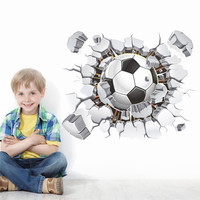 flying football through wall stickers kids room decoration diy home decals soccer funs gift 3D mural art sport game poster 1487. SM6