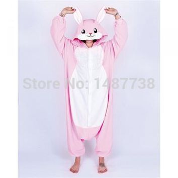 Kigurumi New Winter Adult Cartoon Animal Pink Rabbit Onesuit Unisex Onesuit Pajamas Cosplay Costumes Sleepsuit Sleepwear