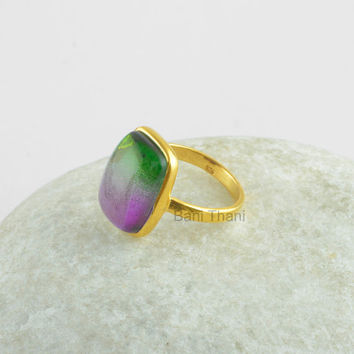 Tourmaline Bi Doublet Quartz Micron Gold Plated 925 Sterling Silver Ring, Rounded Rectangle 12x16mm Stone Ring - #1083