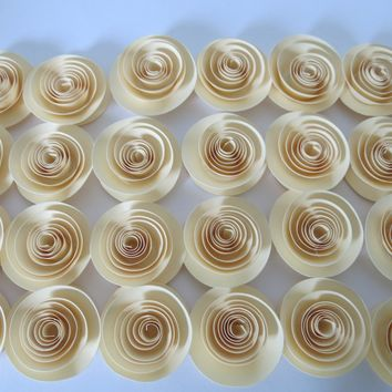 "Ivory Roses set of 24 paper flowers Loose table decorations Winter wedding Bridal Shower Decor Mini Flower Bouquet home decor Baby 1.5"" buds"