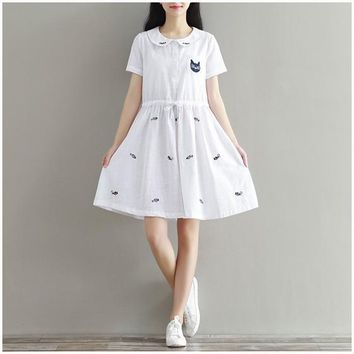 Streetstyle  Casual White Animal Embroidery Cat Peter Pan Collar Sweet Linen Cotton Mini Dress