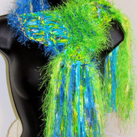 Peacock shades hand knit scarf, lime aqua, blue, yellow, Boho scarf, gypsy, scarf photo prop, extra long, lightweight scarf, soft scarf