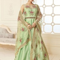 Green Banglori Silk Gown Suit