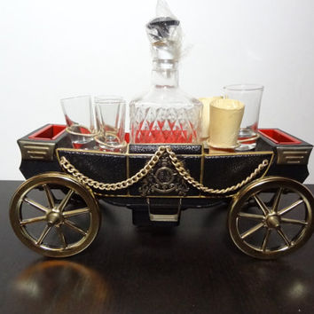 Vintage Black and Gold Prince Charming Carriage Musical Bar Set with Liquor Decanter and Six Shot Glasses