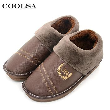 Coolsa New Winter Men Large Size Slippers Leather Plush Flat Slip-On Home Pantufas Waterproof Mens Warm Casual Big size 50 Shoes