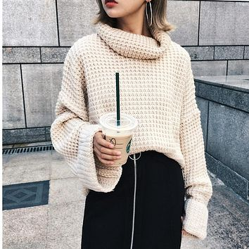 ZXQJ Sweater Pullovers Women High Collar Turtleneck Sweater Solid Color Lady Basic Sweater 3 Colors Flare Sleeve AO091203