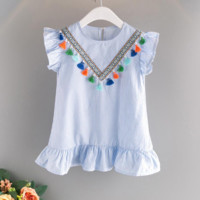 Toddler girls party dress summer kids dresses for girls sky blue striped tassel flowers embroidered dress