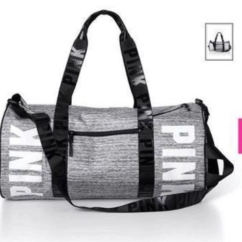 Day-First™  Pink  Printed High Quality Durable Victoria's Secret Like Sport Exercise Carry on Yoga Gym Travel Luggage Bag _ 1349
