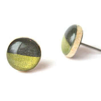 Two tone studs Moss green and charcoal grey post earrings eco friendly jewelry earrings wood earrings spring jewelry for her