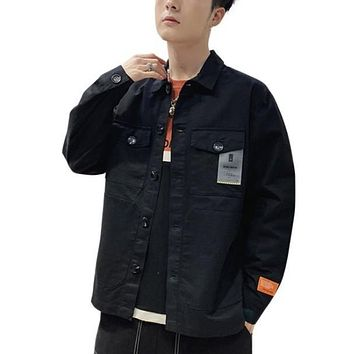 Mens Casual Street Style Dual Pockets Jacket