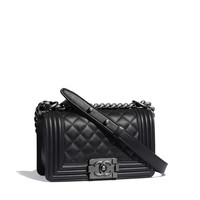 Small BOY CHANEL Handbag, calfskin & ruthenium-finish metal, black - CHANEL