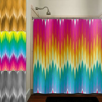 multi color ikat rainbow colorful chevron shower curtain bathroom decor fabric kids bath white black custom duvet cover rug mat window