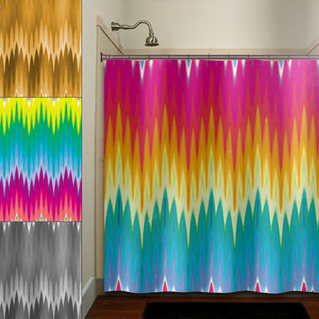 Multi Color Ikat Rainbow Colorful Chevron Shower Curtain Bathroom Decor  Fabric Kids Bath White Black Custom
