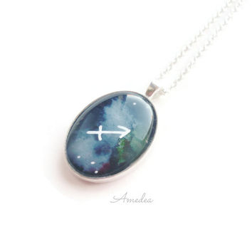 Sagittarius pendant, zodiac jewelry, watercolour handpainted zodiac sign, with sterling silver plated chain