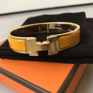 BNIB HERMES CLIC CLAC H BANGLE BRACELET YELLOW GOLD Small size