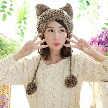 LMFCI7 BomHCS Very Cute Fox Ears Cat Ear New Women Winter Hat 100% Handmade Knitted Beanie Ear Muff Hat Cap