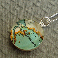 New Orleans Map Necklace Vintage Atlas Sterling by sherrytruitt