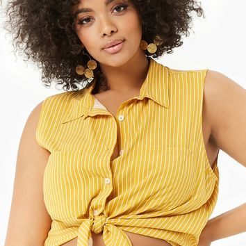 Plus Size Striped Double Pocket Top