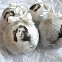 Grey Angels Christmas Baubles
