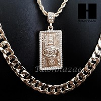 "ICED OUT $100 HUNDRED DOLLAR BILL MONEY 30"" CUBAN LINK CHAIN NECKLACE SET S89G"