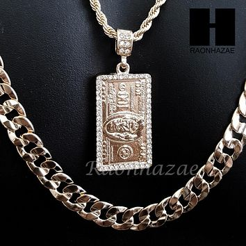 "$100 HUNDRED DOLLAR BILL MONEY 30"" CUBAN LINK CHAIN NECKLACE SET S89G"