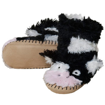 Cow Youth Fuzzy Fleece Slippers