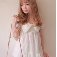 Girls Princess Japan Street Dolly Lolita Kawaii BOW Chiffon Top Shirt White