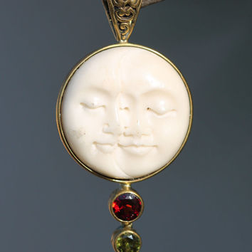 Moon Face, Pendant, Hippie, Bohp, Moonchild, Gypsy, Necklace, Vintage