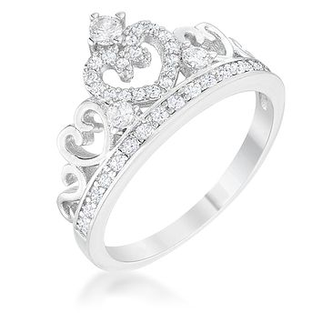 WildKlass Aurora 0.34ct CZ Rhodium Plated Heart Crown Ring