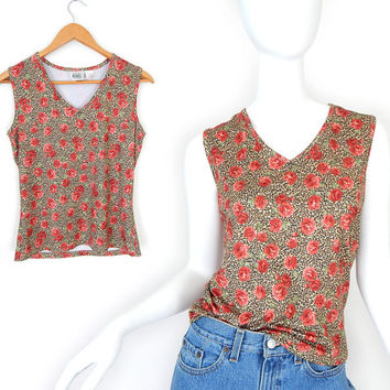 Vintage 90s Floral Print Sleeveless Women's Top - Size Small - Stretch V Neck Red Rose Over Leopard Print Grunge Tank Top