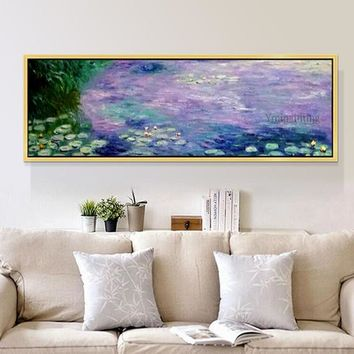 Claude Monet painting Water lilies oil painting on canvas texture lotus pond wall art Pictures for bedroom Home decoracion quadro Handmade