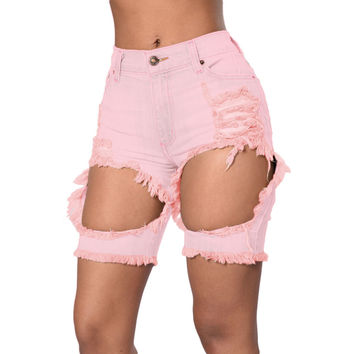 Pink Destroyed  Bermuda Shorts LAVELIQ