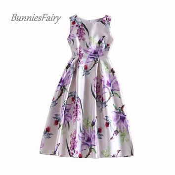 BunniesFairy 2017 Spring Small Fresh Style Lady Elegant Vintage Retro Flower Floral Print High Waist Midi Tank Dress Plus Size