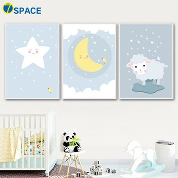 Cartoon Sheep Moon Star Wall Art Canvas Painting Nordic Posters And Prints Animals Canvas Art Wall Pictures Kids Room Wall Decor