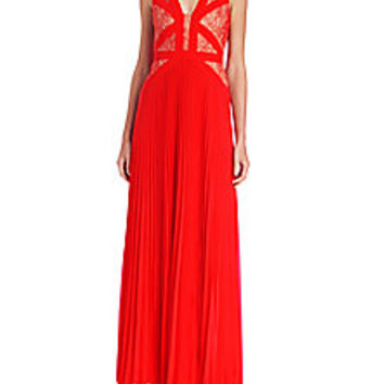 BCBGMAXAZRIA - Evonne Lace-Blocked Pleated Gown - Saks Fifth Avenue Mobile