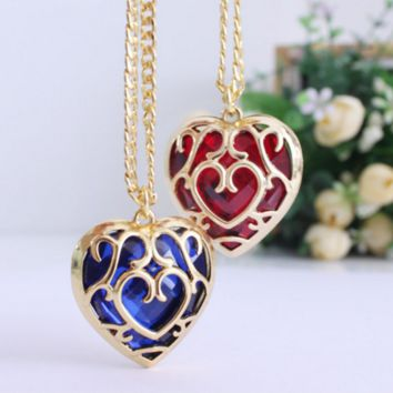 The Legend of Zelda blue red Heart Container necklace