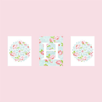 Shabby Chic Monogram First Initial, Vintage Roses, CUSTOMIZE YOUR COLORS, 8x10 Prints, set of 3, nursery decor nursery print art baby decor