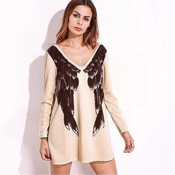Plus Size Women Mini Dress Sexy Deep V Neck Long Sleeve Front Back Wings Print