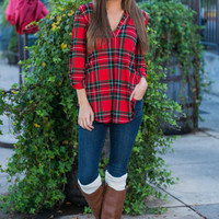 This Plaid Is Here To Stay Top, Red-Black