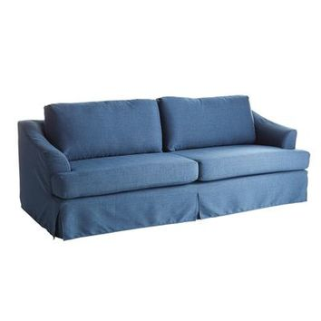 Mika Pierformance™ Navy Slipcovered Sofa