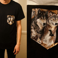Wolves with howl allover pocket tshirt S/M/L/XL