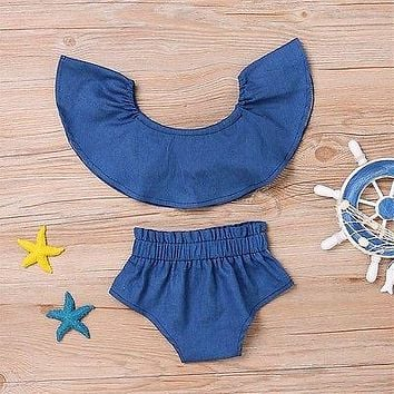 2Pcs Denim Baby clothing set 2017 Newborn Toddler Girl Off Shoulder Crop Tops+Shorts Outfit Clothes Set
