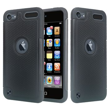 Apple iPod Touch 5 / Touch 6 Case, Heavy Duty Dual Layer Armored Protective Hybrid Case Cover For iPod Touch 5 / Touch 6 - Black/Black (Black on Black Stealth Armor)
