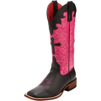 Women's Anderson Bean Black & Pink Embossed Cross Cowgirl Boots