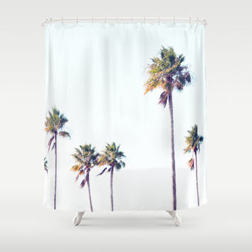 Fort De Soto Palms - Shower Curtain, Tropical Palm Trees Bathroom Decor, Light Blue & Green Vanity Bath Tub Accent Curtain. In 71x74 Inches