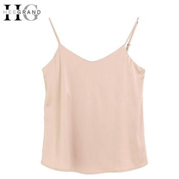 DKF4S HEE GRAND  Silk Halter Top Women Camisole 2017 Summer Style Sexy Sleeveless Vest Solid Crop Top Camis Roupas Femininas  WBS249